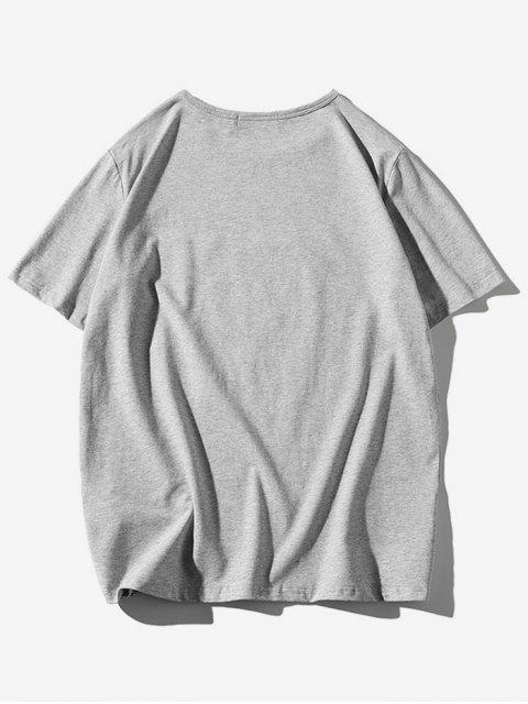 T-shirt a Maniche Corte con Stampa di Uccelli - Grigio Chiaro 2XL Mobile