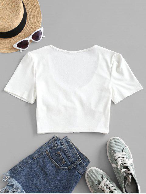 T-shirt Court au Crochet en Avant - Blanc L Mobile