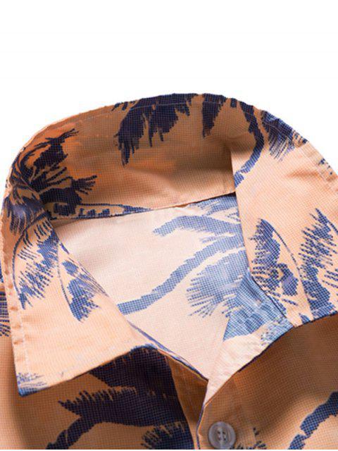 latest Palm Tree Print Vacation Beach Shirt - KHAKI ROSE XL Mobile