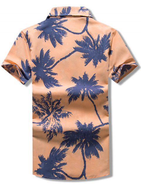 fashion Palm Tree Print Vacation Beach Shirt - KHAKI ROSE 3XL Mobile