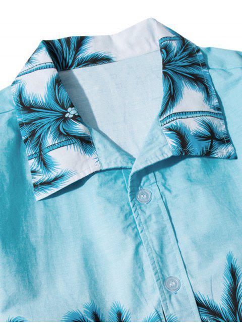 women Hawaii Beach Holiday Palm Tree Shirt - DAY SKY BLUE XS Mobile