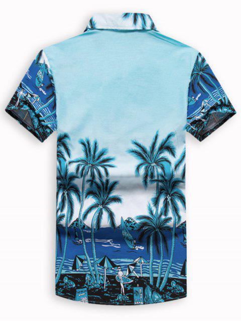 lady Hawaii Beach Holiday Palm Tree Shirt - DAY SKY BLUE L Mobile