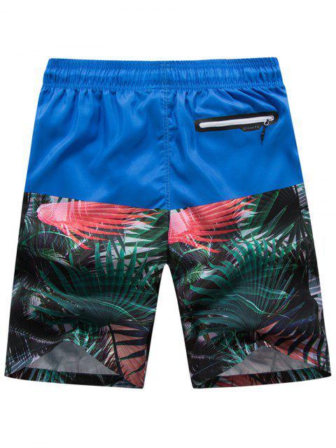 Short de Plage Hawaïen Panneau Plante Tropicale - Bleu 4XL Mobile