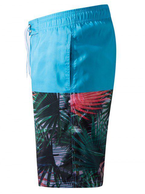 Short de Plage Hawaïen Panneau Plante Tropicale - Bleu clair 3XL Mobile