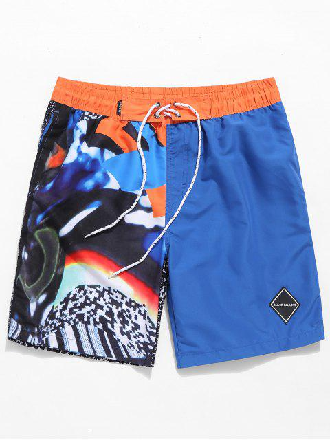 Shorts de Playa con Color Bloque - Azul 3XL Mobile