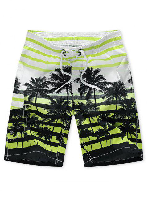 Palme Baum Gestreifte Urlaub Strand Shorts - Minzgrün 4XL Mobile