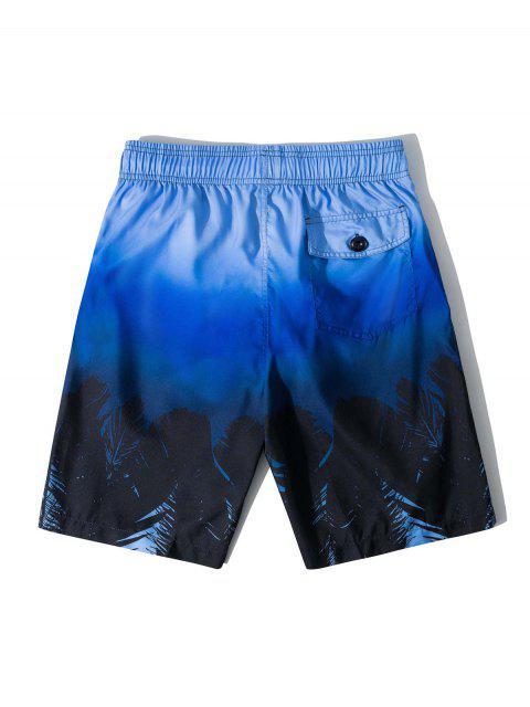 Shorts de Playa de Hawai con Estampado Tropical de Hojas - Azul M Mobile