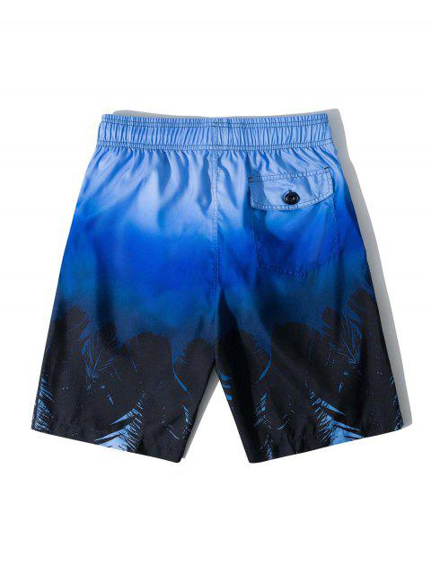 affordable Ombre Tropical Leaf Beach Shorts - BLUE L Mobile