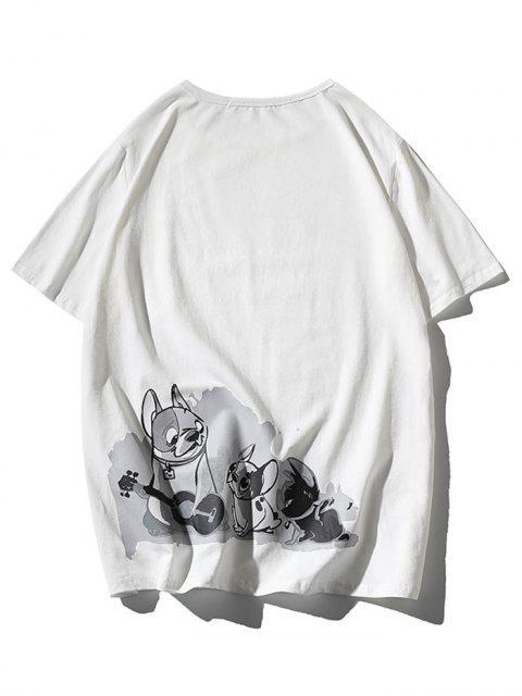 Cartoon Dogs Print Applique T-shirt - أبيض 2XL Mobile