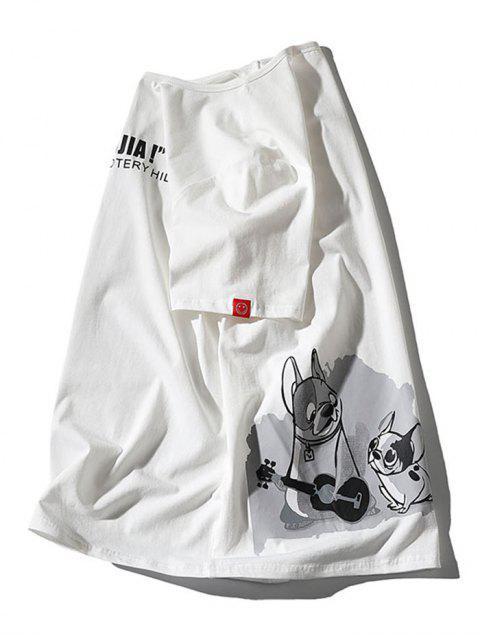 T-shirt Applique de Impressão de Cartoon - Branco 2XL Mobile