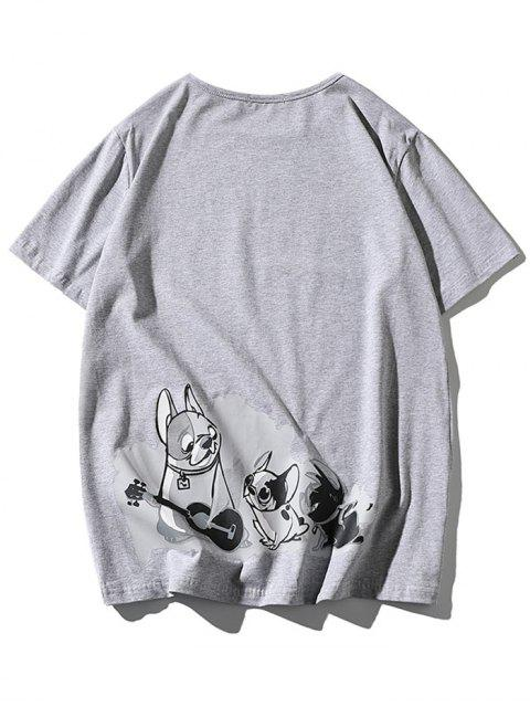 ladies Cartoon Dogs Print Applique T-shirt - LIGHT GRAY 2XL Mobile