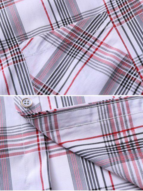 Kariertes Taschen Patch Knopf Hemd - Lava Rot XS Mobile