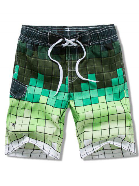 chic Ombre Checkered Vacation Board Shorts - GREEN 3XL Mobile