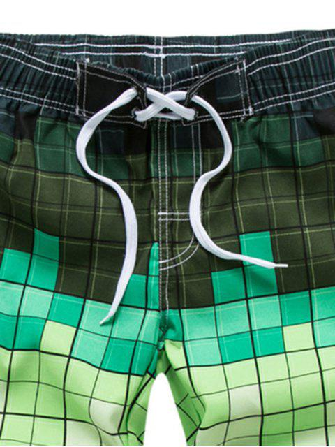 Ombre Checkered Vacation Board Shorts - أخضر 3XL Mobile