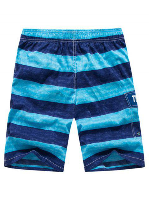 Colorblock Letter Printed Drawstring Beach Shorts - المراوغ الأزرق 2XL Mobile