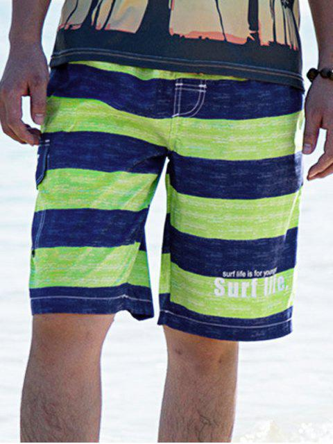 Colorblock Letter Printed Drawstring Beach Shorts - الأخضر الأصفر 2XL Mobile