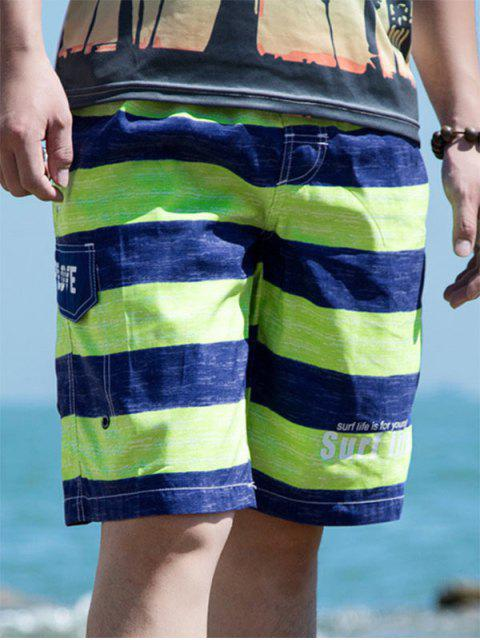 latest Colorblock Letter Printed Drawstring Beach Shorts - YELLOW GREEN 2XL Mobile