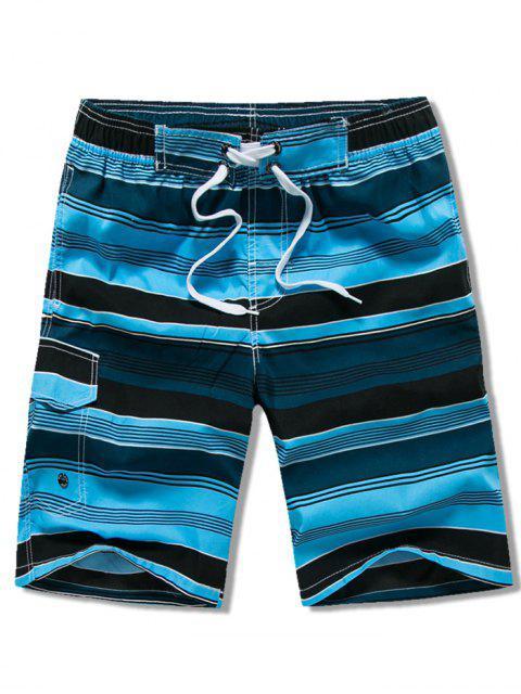 Tunnelzug Gestreifte Schwimmen Strand Shorts mit Pattentasche - Blau XL Mobile