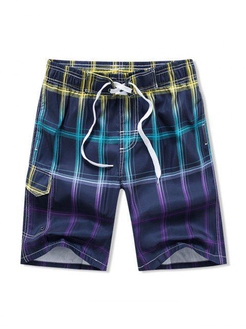 Ombre Karierte Strand Shorts - Multi-B 3XL Mobile