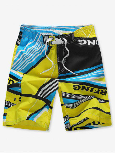 affordable Striped Geo Graphic Beach Shorts - YELLOW M Mobile