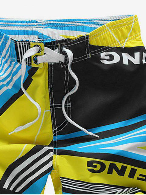 ladies Striped Geo Graphic Beach Shorts - YELLOW 4XL Mobile