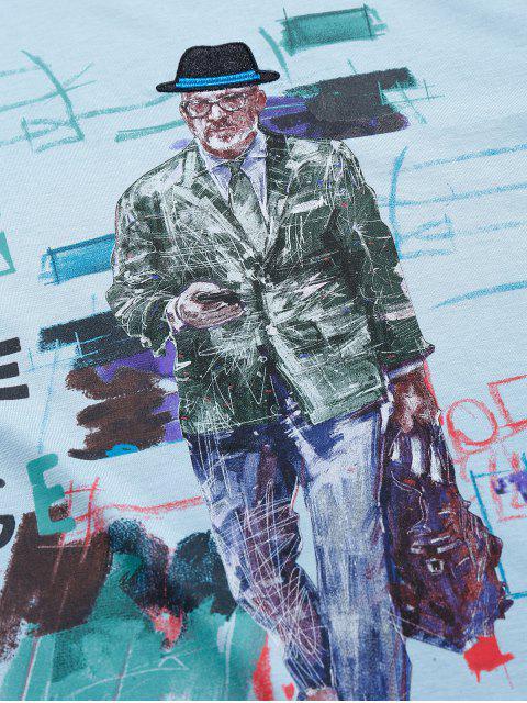 Maglietta a Maniche Corte con Disegno Grafico a Lettera - Blu Grigio L Mobile