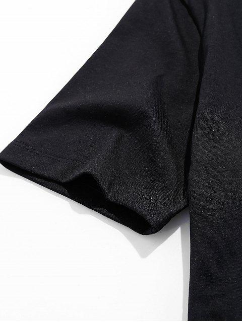 Camiseta Básica con Estampado de Pintura de Dreamy - Negro L Mobile
