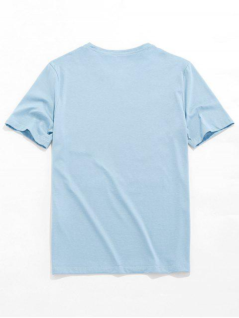 women's Dreaming Paint Graphic Basic T-shirt - BLUE GRAY S Mobile