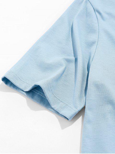 Camiseta Básica con Estampado de Pintura de Dreamy - Gris Azulado L Mobile