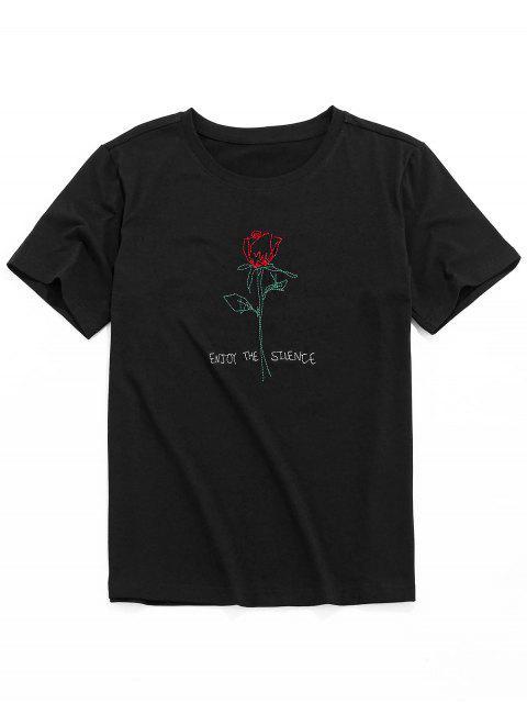 ZAFUL Short Sleeve Rose Pattern Embroidery T-shirt - أسود M Mobile