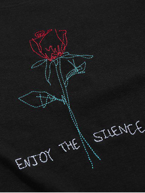 latest ZAFUL Short Sleeve Rose Pattern Embroidery T-shirt - BLACK M Mobile