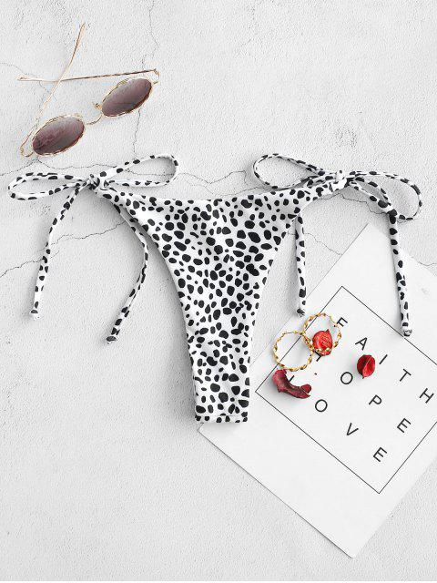 new ZAFUL Leopard Animal Print Tie Side Bikini Bottom - WHITE M Mobile
