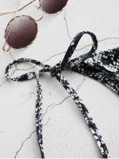 women ZAFUL Leopard Animal Print Tie Side Bikini Bottom - BATTLESHIP GRAY S Mobile
