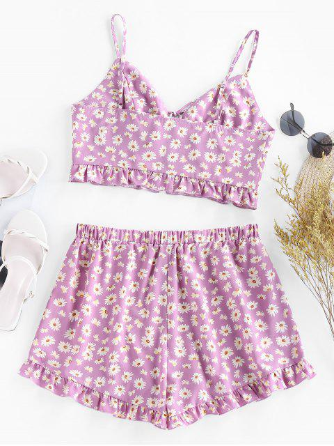 chic ZAFUL Daisy Floral Lace Up Ruffle Cami Two Piece Set - PURPLE S Mobile