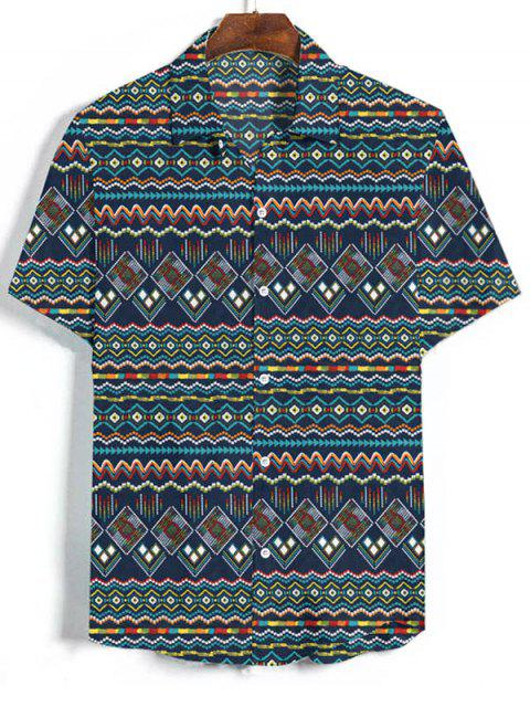 unique Geometric Graphic Vacation Shirt - MULTI-B 2XL Mobile