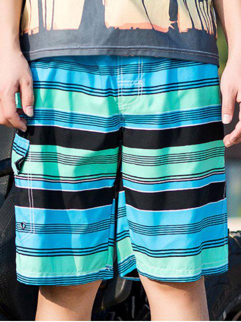 Drawstring Striped Swimming Beach Shorts with Flap Pocket - فيروز 3XL Mobile