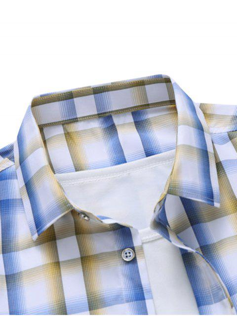 buy Plaid Pocket Patch Button Down Shirt - SUN YELLOW 2XL Mobile