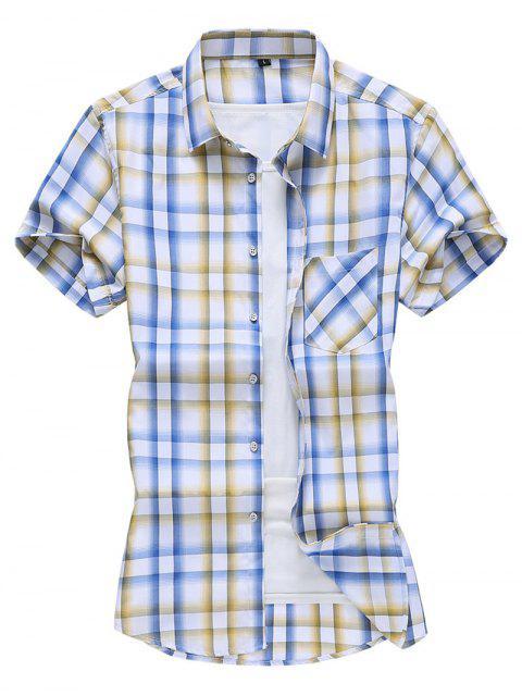 Plaid Pocket Patch Button Down Shirt - صن اصفر 2XL Mobile