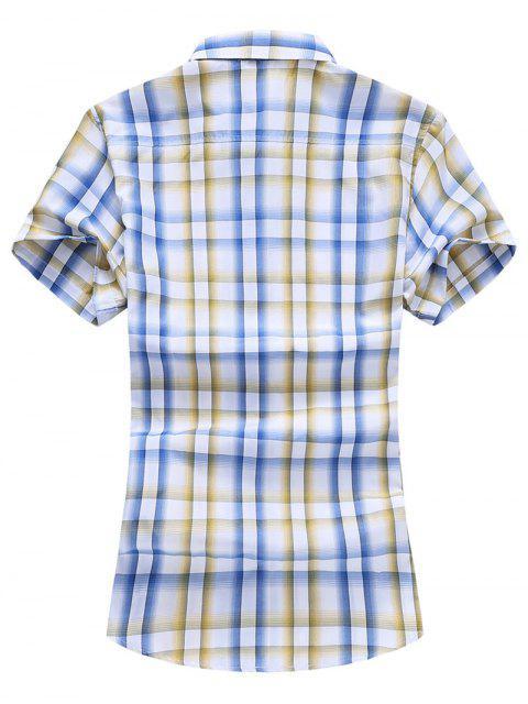 Kariertes Taschen Patch Knopf Hemd - Sonne Gelb XS Mobile