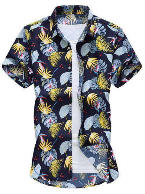 fashion Allover Plant Leaf Print Vacation Shirt - DENIM DARK BLUE XL Mobile