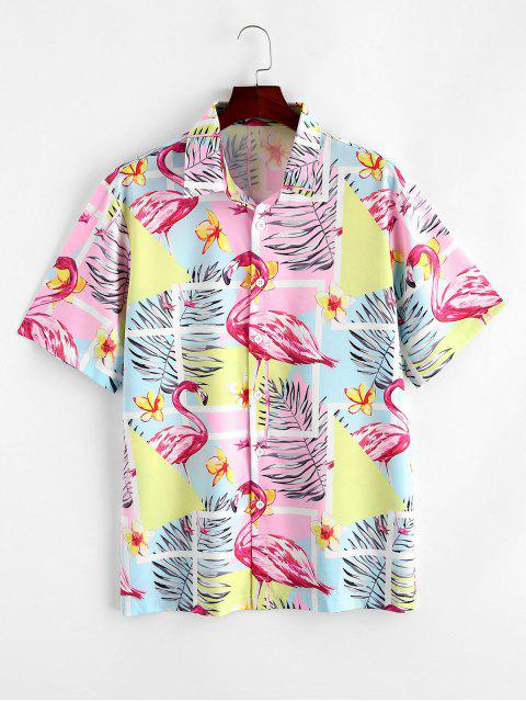 hot Flamingo Tropical Leaf Print Hawaii Vacation Shirt - MULTI-A L Mobile