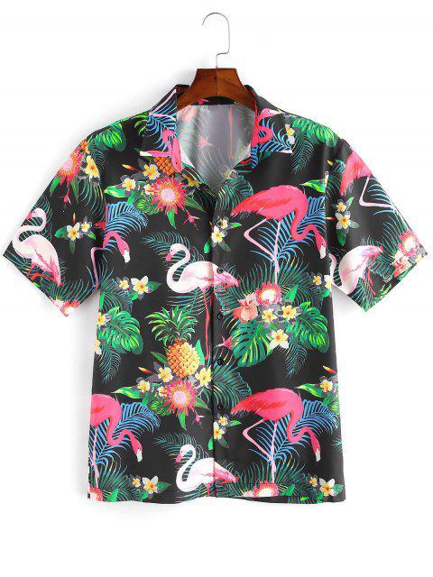 online Flamingo Tropical Plant Print Hawaii Vacation Shirt - MULTI-A 2XL Mobile