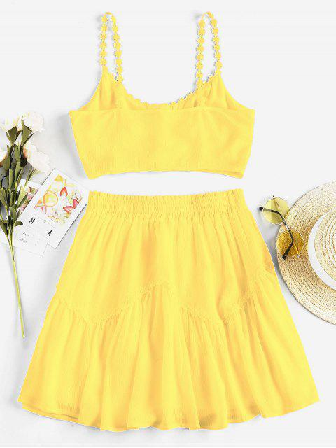 outfits ZAFUL Flower Applique Button Up Mini Skirt Set - SUN YELLOW S Mobile