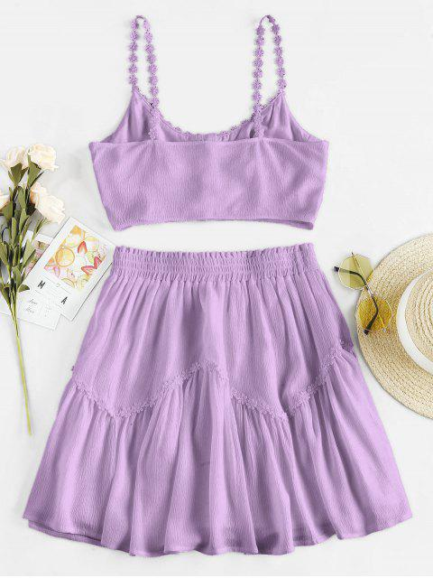 trendy ZAFUL Flower Applique Button Up Mini Skirt Set - MAUVE M Mobile