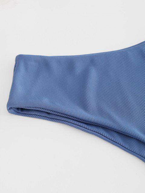 ZAFUL Bikinihose mit Rippen und Hoher Taille - Helles Himmelblau S Mobile