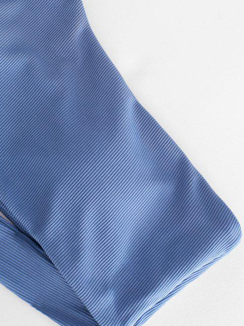 ZAFUL Verknoteter Einziger Schulter Gerippter Bikini-Top - Denim Blau L Mobile