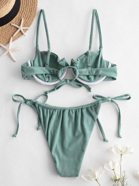 Costume da Bagno Bikini Annodato a Costine con Ferretto a V di ZAFUL - Verde Tartaruga S Mobile