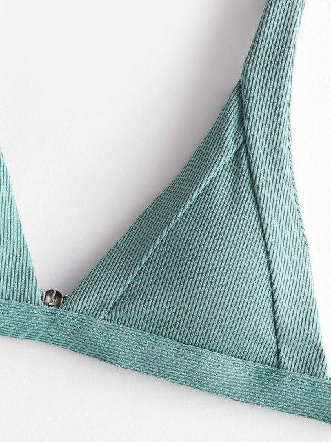 ZAFUL Maillot de Bain Bikini Plongeant Côtelé en Forme V - Vert Tortue de Mer L Mobile