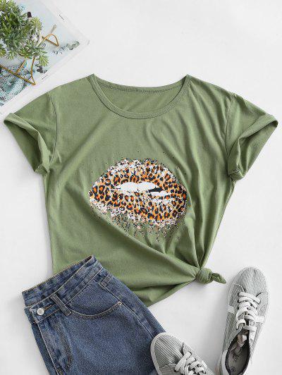 Tier Leopard Lippen Grafisches Geknotetes Grundlegendes T-Shirt - Grüne Zwiebel S