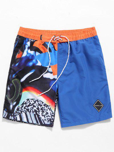 Farbblock Grafik Strand Shorts - Blau 3xl
